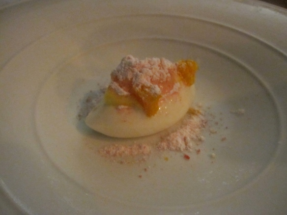 Campari orange, curds and whey