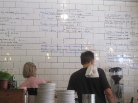 Menu written on the wall tiles