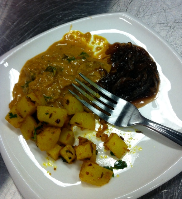 Veggie curry, Bombay potatoes and onion jam