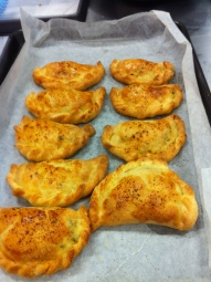 1st tray of empanadas hot out of the oven