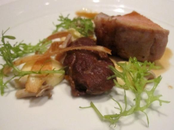 Roast pork loin and braised cheek
