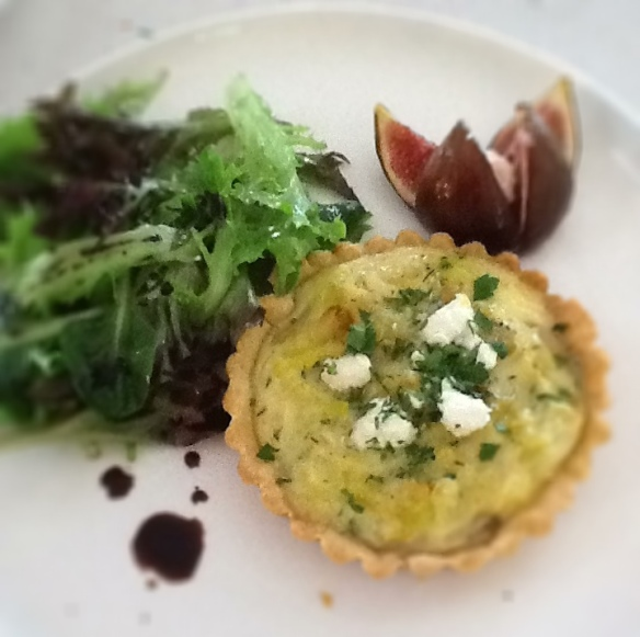 Leek potato and feta tart
