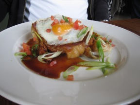 Sweet roasted pork neck wth free-range egg, spring onion roti