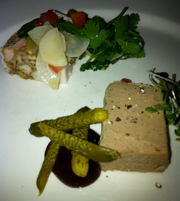 Chicken liver pate and rabbit terrine
