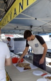 This pizza type bread with garlic is yum!