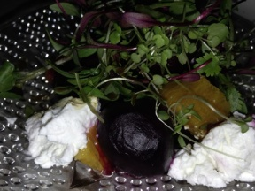 Baby beets with orange and goats cheese