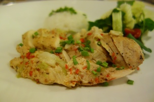 Spicy poached chicken